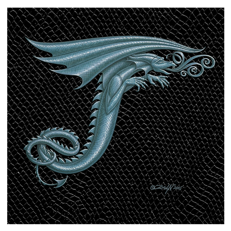 "Print Dragon Letter 'T' 3.0, Silver on Jet Black Dragonskin, 8""x8""  by Sue Ellen Brown"