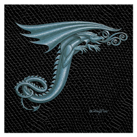 "Print Dragon T-3.0, 8""x 8"" Silver on Jet Black Dragonskin by Sue Ellen Brown"