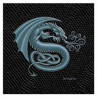 "Print Dragon S, 6""x 6"" Silver on Jet Black Dragonskin by Sue Ellen Brown"