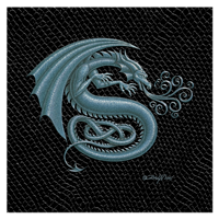 "Print Dragon S, 8""x 8"" Silver on Jet Black Dragonskin by Sue Ellen Brown"