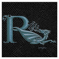 "Print Dragon Letter 'R', Silver on Jet Black Dragonskin, 6""x6"" by Sue Ellen Brown"