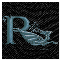 "Print Dragon Letter 'R', Silver on Jet Black Dragonskin, 8""x8""  by Sue Ellen Brown"