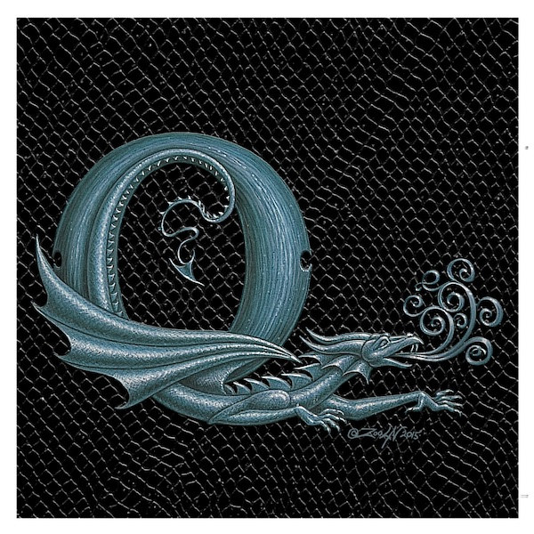 "Print Dragon Letter 'Q', 6""x 6"" Silver on Jet Black Dragonskin by Sue Ellen Brown"