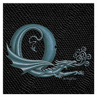 "Print Dragon Letter 'Q', Silver on Jet Black Dragonskin, 6""x6"" by Sue Ellen Brown"