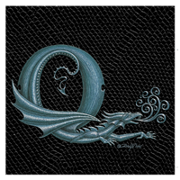 "Print Dragon Letter 'Q', Silver on Jet Black Dragonskin, 8""x8""  by Sue Ellen Brown"