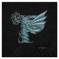 "Print Dragon Letter 'P', Silver on Jet Black Dragonskin, 6""x6"" by Sue Ellen Brown"