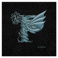 "Print Dragon Letter P', Silver on Jet Black Dragonskin, 8""x8""  by Sue Ellen Brown"