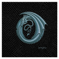 "Print Dragon Letter 'O', Silver on Jet Black Dragonskin, 8""x8""  by Sue Ellen Brown"