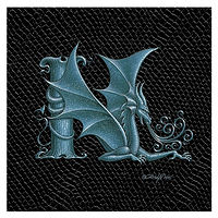 "Print Dragon Letter 'N', Silver on Jet Black Dragonskin, 6""x6"" by Sue Ellen Brown"