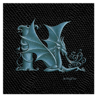 "Print Dragon N, 8""x 8"" Silver on Jet Black Dragonskin by Sue Ellen Brown"