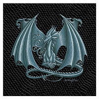 "Print Dragon Letter 'M', Silver on Jet Black Dragonskin, 6""x6"" by Sue Ellen Brown"