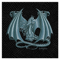 "Print Dragon Letter 'M', Silver on Jet Black Dragonskin, 8""x8""  by Sue Ellen Brown"