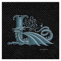 "Print Dragon Letter 'L', Silver on Jet Black Dragonskin, 6""x6"" by Sue Ellen Brown"
