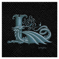 "Print Dragon Letter 'L', Silver on Jet Black Dragonskin, 8""x8""  by Sue Ellen Brown"