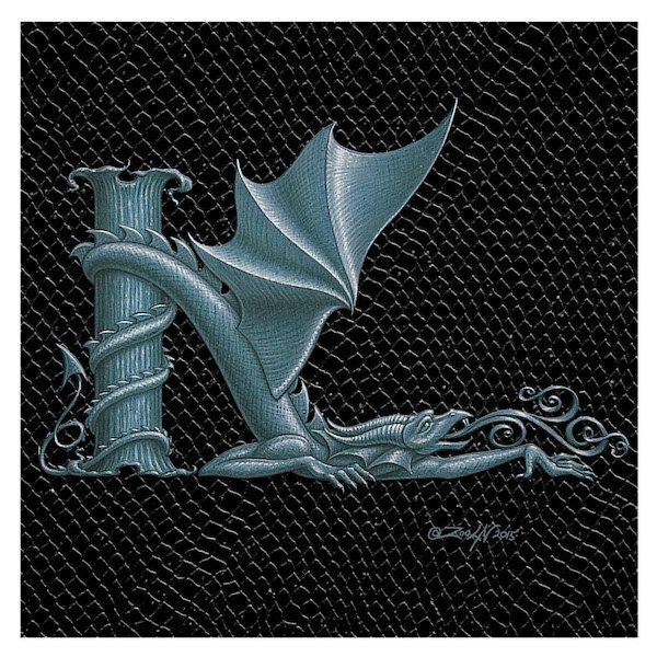 "Print Dragon Letter 'K', 6""x 6"" Silver on Jet Black Dragonskin by Sue Ellen Brown"