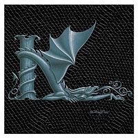 "Print Dragon Letter 'K', Silver on Jet Black Dragonskin, 6""x6"" by Sue Ellen Brown"