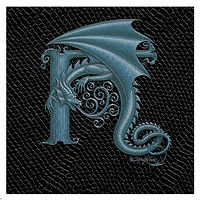 "Print Dragon Letter 'H', Silver on Jet Black Dragonskin, 6""x6"" by Sue Ellen Brown"