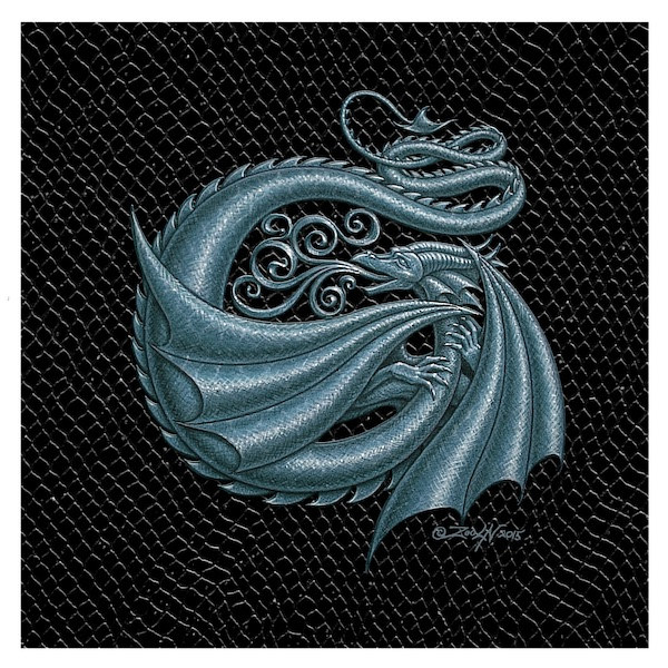 "Print Dragon Letter 'H', 6""x 6"" Silver on Jet Black Dragonskin by Sue Ellen Brown"