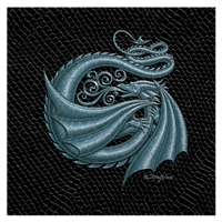 "Print Dragon G, Silver on Jet Black Dragonskin, 8""x8""  by Sue Ellen Brown"