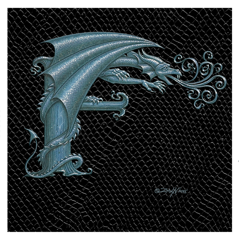 "Print Dragon Letter 'F', 8""x 8"" Silver on Jet Black Dragonskin by Sue Ellen Brown"