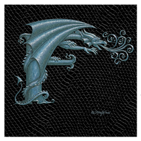 "Print Dragon Letter 'F', Silver on Jet Black Dragonskin, 8""x8""  by Sue Ellen Brown"