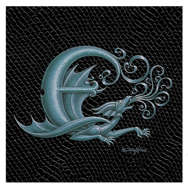 "Print Dragon Letter 'E', 6""x 6"" Silver on Jet Black Dragonskin by Sue Ellen Brown"