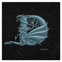 "Print Dragon Letter 'D', Silver on Jet Black Dragonskin, 6""x6"" by Sue Ellen Brown"