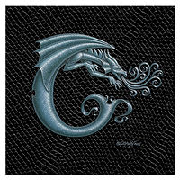 "Print Dragon Letter 'C', Silver on Jet Black Dragonskin, 6""x6"" by Sue Ellen Brown"
