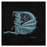 "Print Dragon Letter 'D', Silver on Jet Black Dragonskin, 8""x8""  by Sue Ellen Brown"