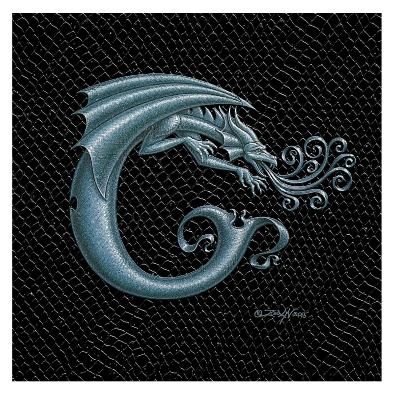 "Print Dragon Letter 'C', 8""x 8"" Silver on Jet Black Dragonskin by Sue Ellen Brown"