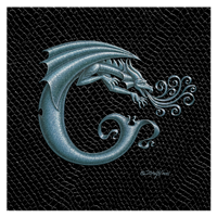 "Print Dragon Letter 'C', Silver on Jet Black Dragonskin, 8""x8""  by Sue Ellen Brown"