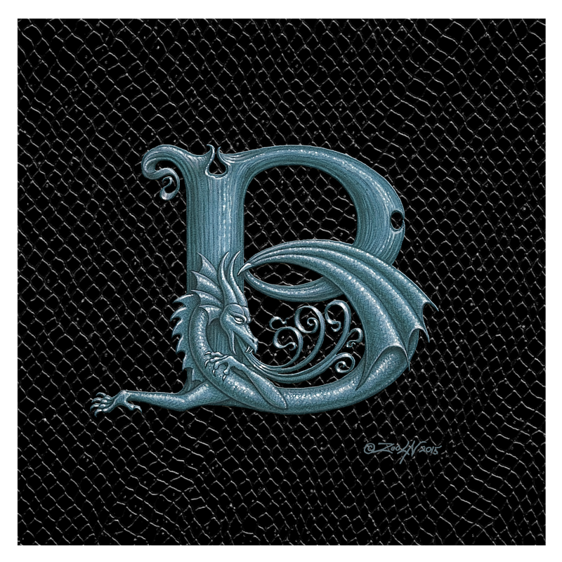 "Print Dragon Letter 'B', 8""x 8"" Silver on Jet Black Dragonskin by Sue Ellen Brown"