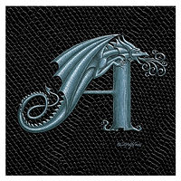 "Print Dragon Letter 'A', Silver on Jet Black Dragonskin, 6""x6"" by Sue Ellen Brown"