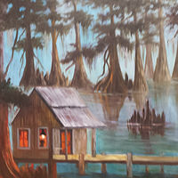 Oil painting Cabin in the Bayou by Barbara Haviland