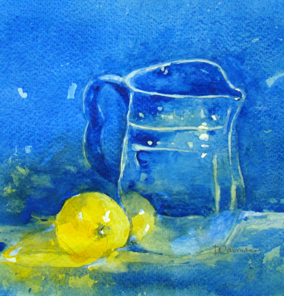 Painting Blue Pitcher II by Deborah Carman