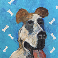 Acrylic painting Dog with a Huge Tongue by Bernard Scanlan