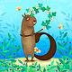 B is for Beaver with a Blossoming Branch by Valerie Lesiak