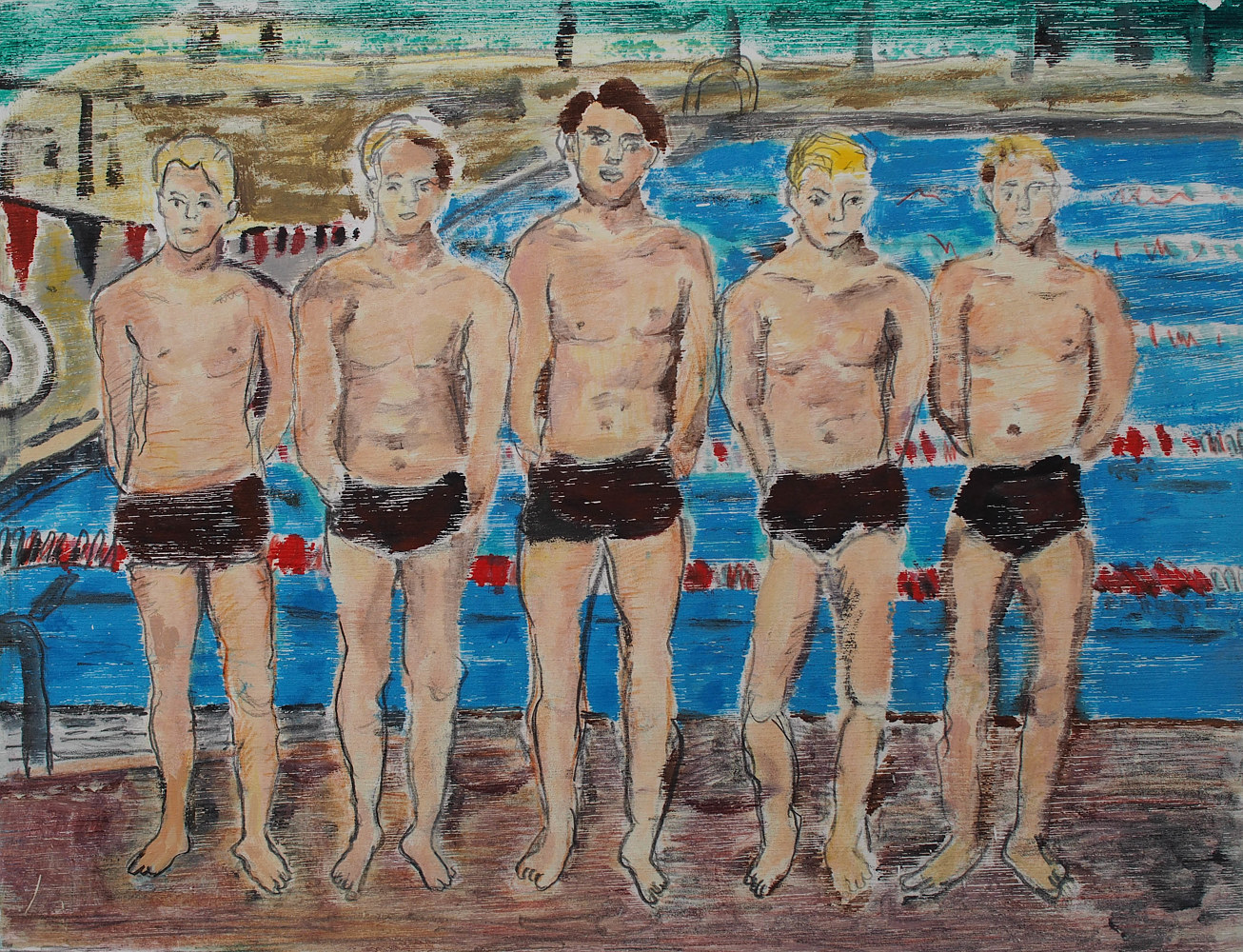 Print Varisty Swimmers I by Dennis Worrel