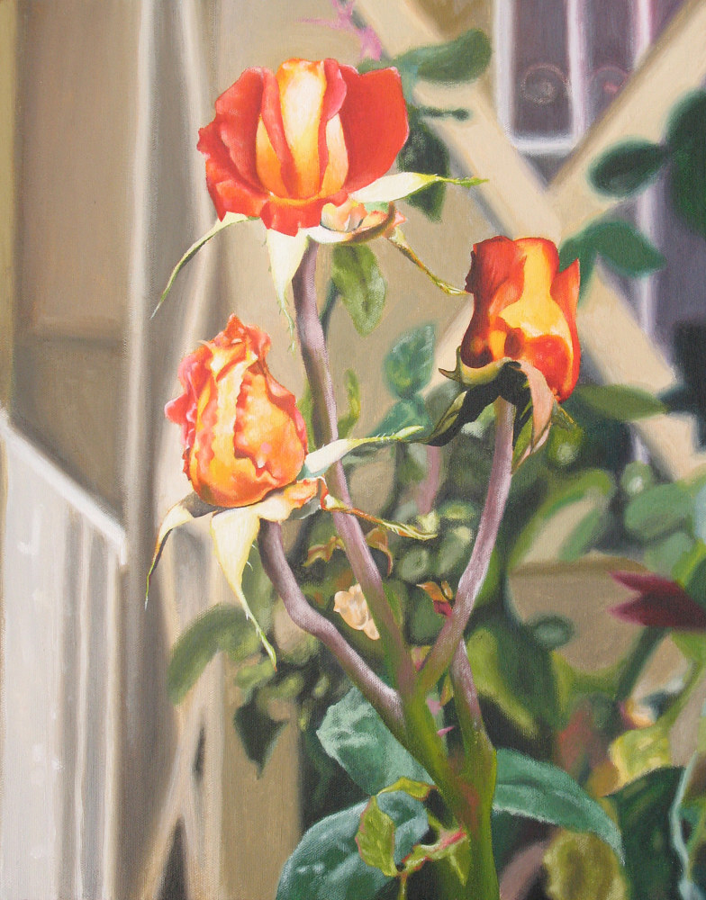 Acrylic painting 3 ROSES by Art Carrillo