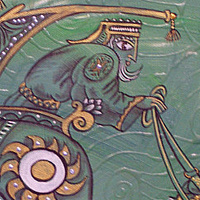 Acrylic painting Battle of the Fish-Green Chariot by Kenneth M Ruzic