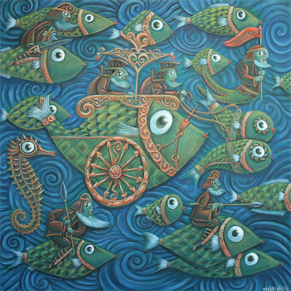 Acrylic painting Battle of the Fish by Kenneth M Ruzic