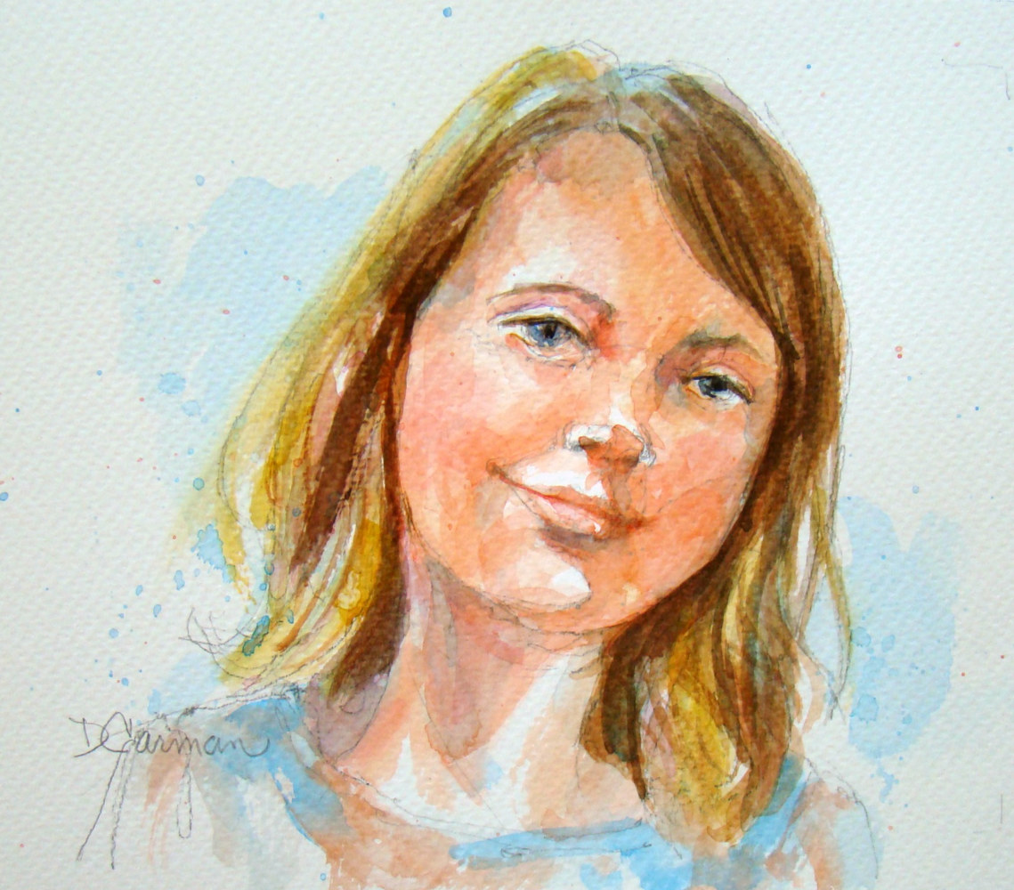 Painting Young Girl by Deborah Carman