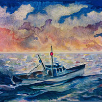 Watercolor ALL AT SEA by Anastasia O'melveny