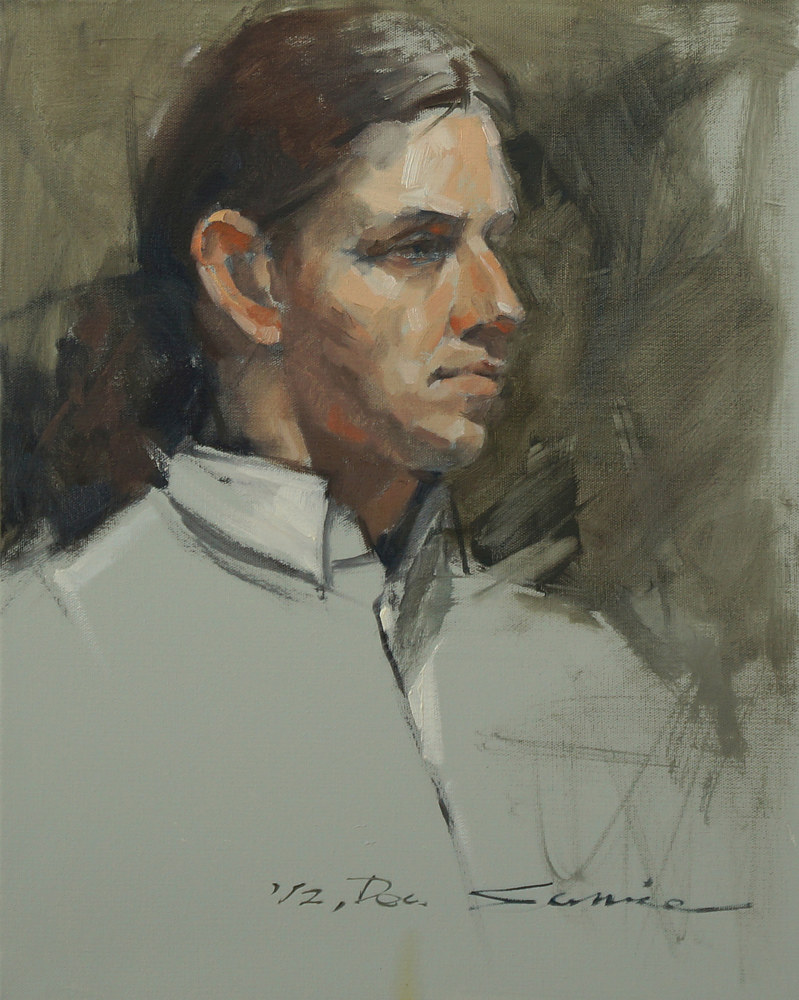 Oil painting young man by Eunice Sim