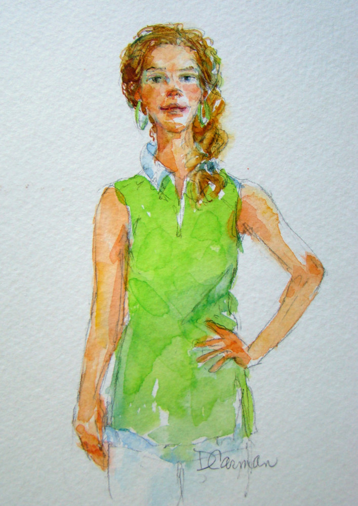Painting Green Tunic by Deborah Carman