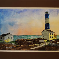 Painting Lighthouse Original Watercolor-21x14 by Frans Geerlings