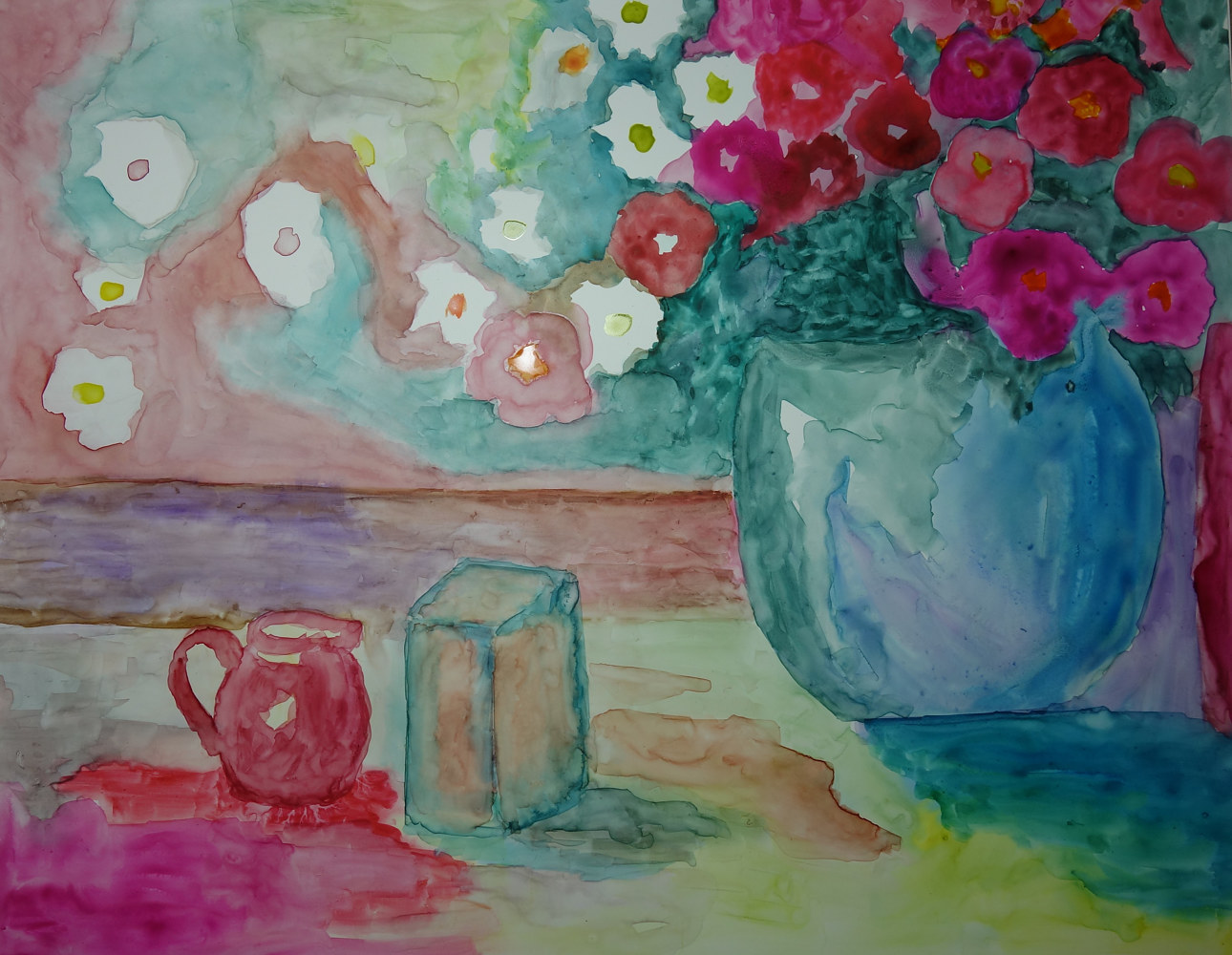 Watercolor Vase and Wallpaper by Joan Morris