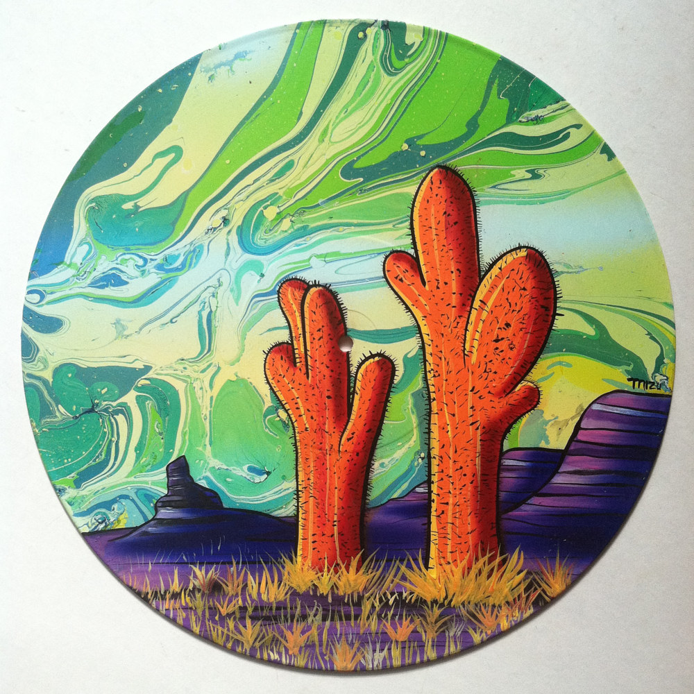 Painting Orange Saguaros #2  - Painting on Vinyl Record by Mr Mizu by Isaac Carpenter