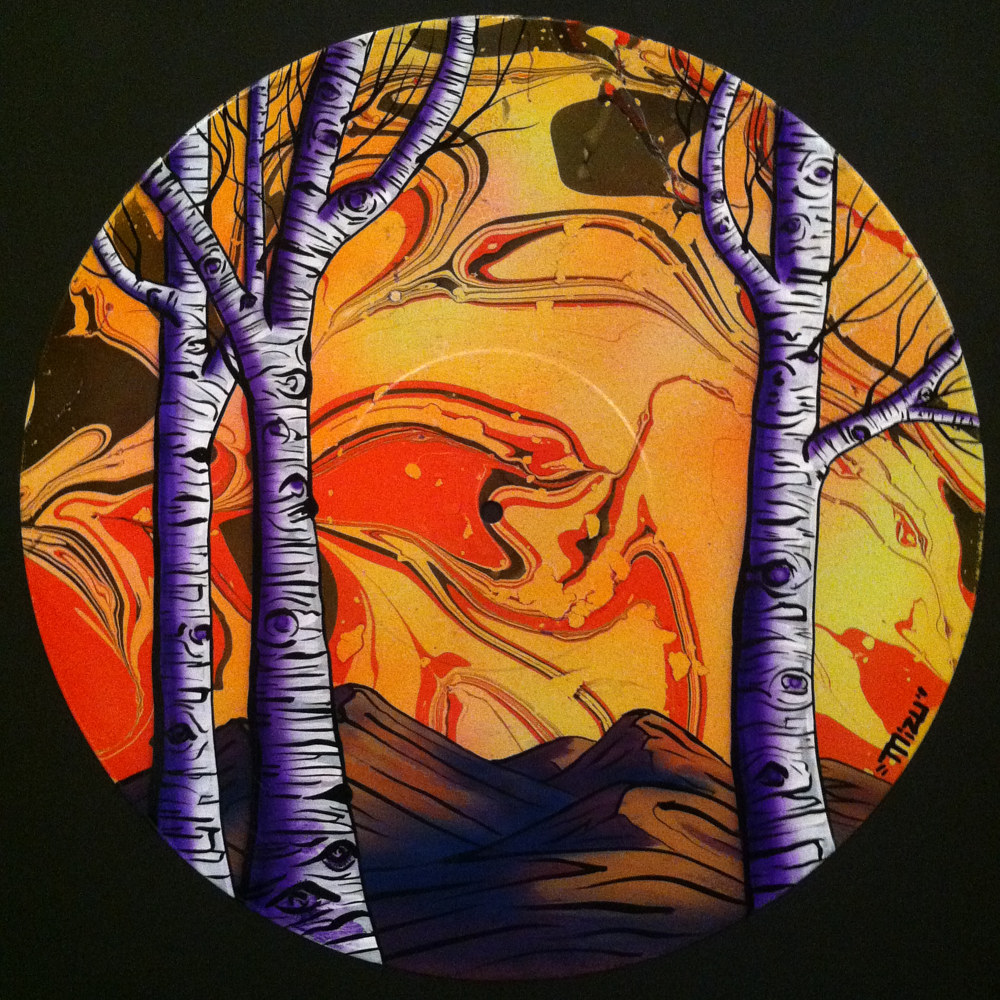 Winter Aspen Trees  - Painting on Vinyl Record by Mr Mizu by Isaac Carpenter