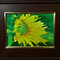 Acrylic painting Sunflower with Green Heart-9x12 by Frans Geerlings